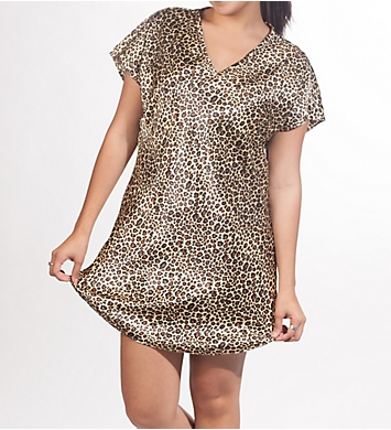 Amanda Rich Satin Cheetah Print Gown
