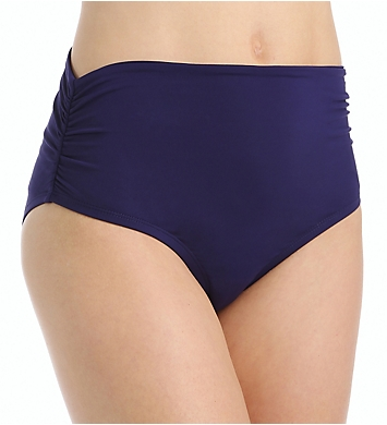 Anne Cole Solid Convertible High Waist Shirred Swim Bottom