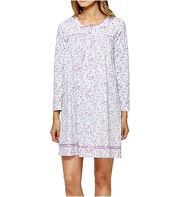 Aria Brushed Cotton Jersey Long Sleeve Short Nightgown