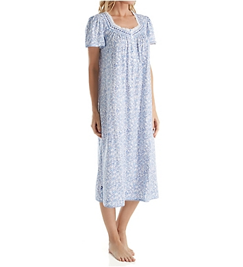 Aria Blue Floral Cotton Short Sleeve Ballet Nightgown