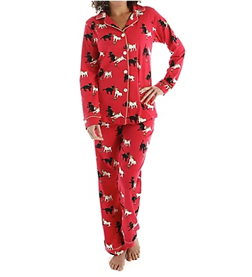 BedHead Pajamas Red Cats And Dogs Long Sleeve Classic PJ Set