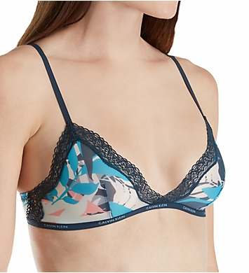 Calvin Klein Sheer Marquisette with Lace Unlined Triangle Bra