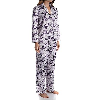 Carole Hochman Blooming Brushed Back Satin Long Pajama Set