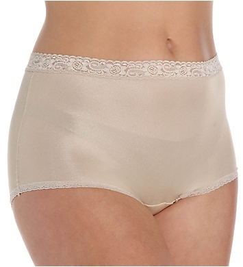 Cuddl Duds Lorraine Nylon Full Brief with Lace Trim Panty