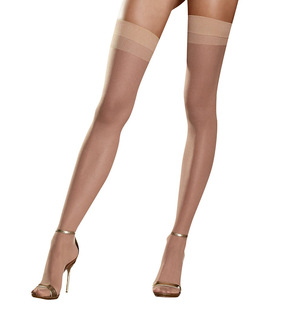 1920s Style Stockings & Socks Thigh High Nude OS Plus $6.00 AT vintagedancer.com