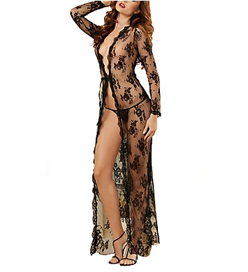 Dreamgirl Obsession 2 Piece Long Open Front Lace Gown Set