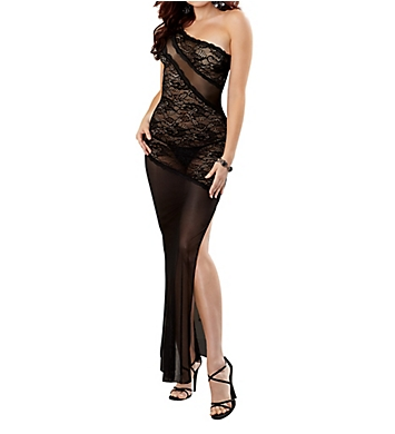 Dreamgirl Stretch Lace Long Gown With G-String