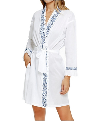 Eileen West Embroidery Short Wrap Robe