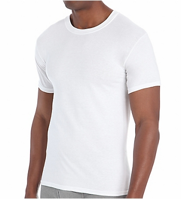 Hanes Premium Cotton White Crew Neck T-Shirts - 6 Pack