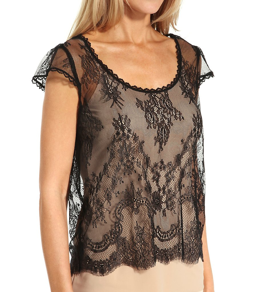 Edwardian Style Blouses Hanky Panky 94T341 Signature Lace Victoria Lace Top Black S $82.00 AT vintagedancer.com