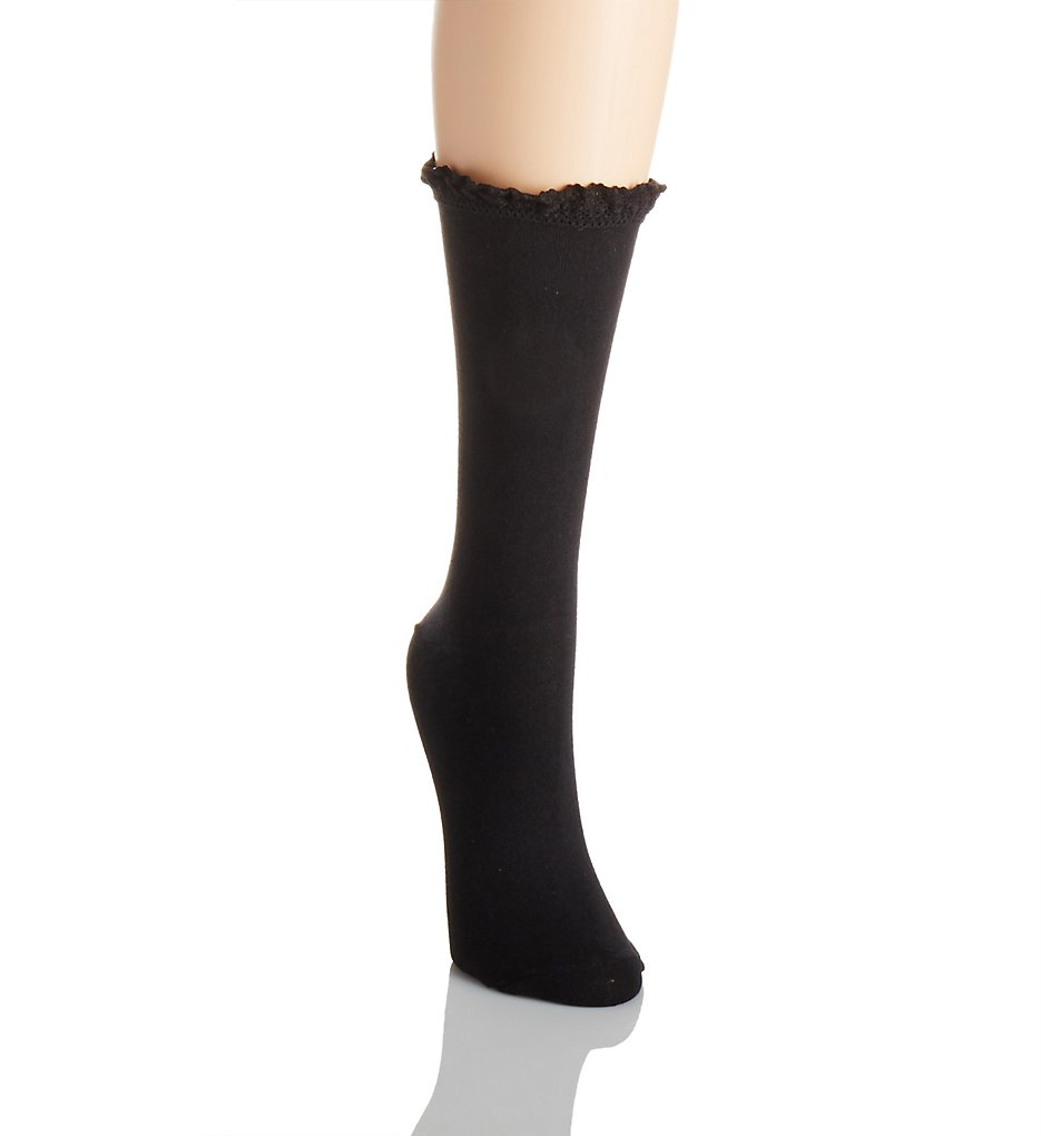 1950s Stockings and Nylons History & Shopping Guide Lace Trim Sock Black OS $7.00 AT vintagedancer.com
