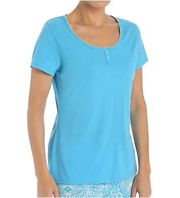 Jockey Enchanted Spring Solid Short Sleeve Henley Top