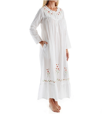 La Cera Cotton Long Sleeve Long Gown with Pockets