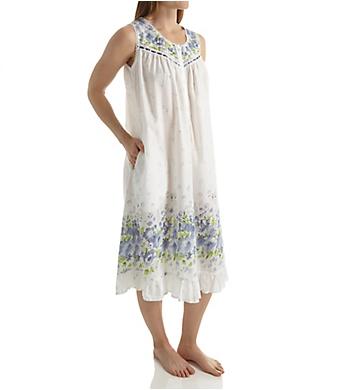 La Cera Sleeveless 100% Cotton Border Print Gown