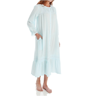 La Cera Cotton Crochet Long Sleeve Robe With Pockets