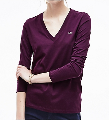 Lacoste Long Sleeve Cotton Jersey V-Neck T-Shirt
