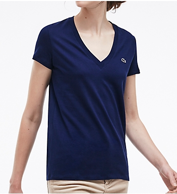Lacoste Short Sleeve Cotton Jersey V-Neck T-Shirt