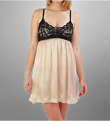 Linda Hartman Dana Charmeuse Chemise With Stretch Lace