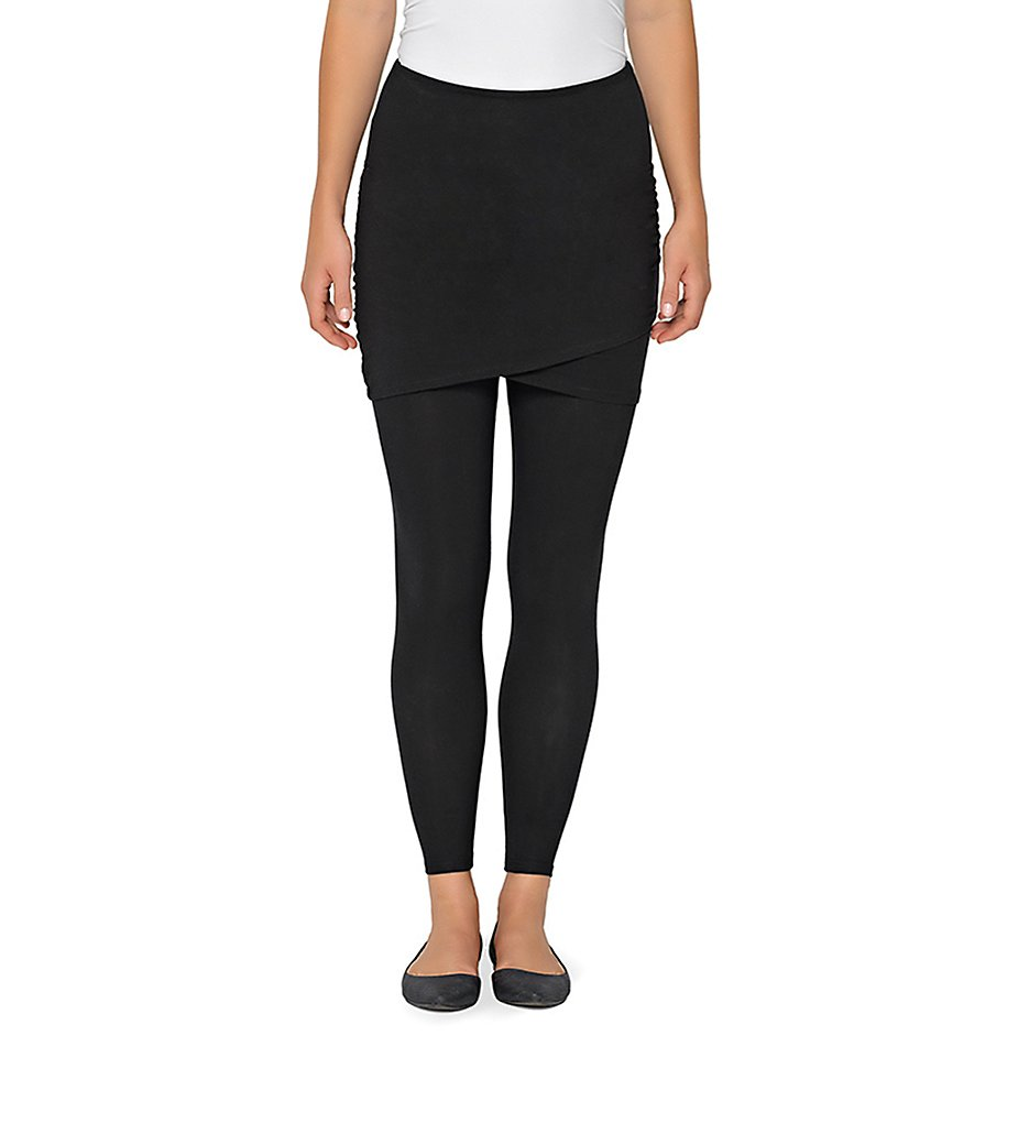Lysse 1123 Ruched Skirted Crop Leggings (Black)