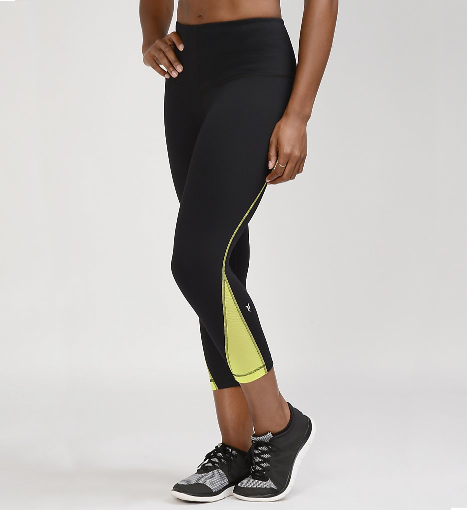 Lysse 8228C Active Crop Length Fit Pants (Black/Citron)