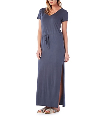 Michael Stars V-Neck Drawstring Maxi Tee Dress