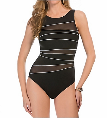 Miraclesuit Net Work Piped High Neck Illusion 1-pc Swimsuit