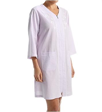 Miss Elaine Seersucker Short Zip Robe