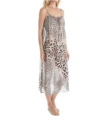 Natori Exotic Animal Long Cotton Voile Gown