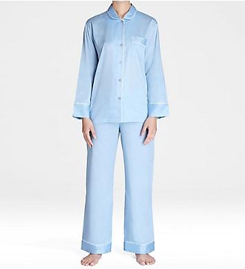 Natori Cotton Sateen Notch Pajama Set