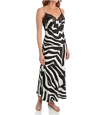 Natori Zebra Printed Gown with Lace