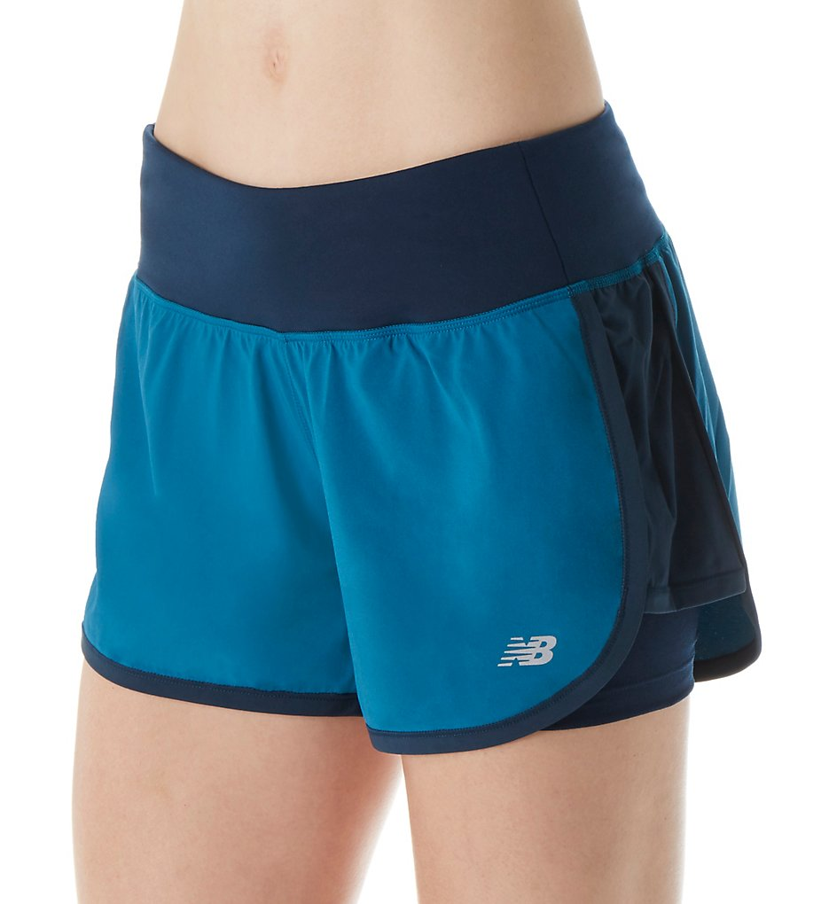New Balance WS63225 Impact NB Dry 4 Inch 2-in-1 Running Shorts (Castaway/Galaxy)
