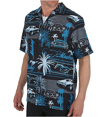 Newport Blue Mustang Palms Button Down Shirt