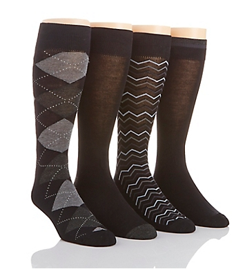 Perry Ellis Superior Soft Luxury Argyle Dress Socks - 4 Pack