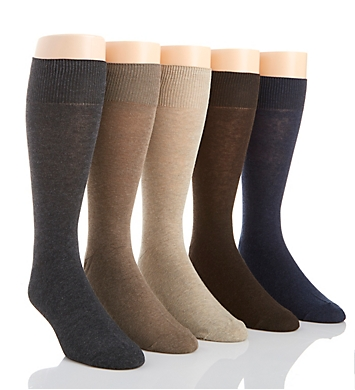 Perry Ellis Premium Cotton Blend Solid Dress Socks - 5 Pack