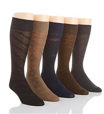 Perry Ellis Premium Cotton Blend Grid Dress Socks - 5 Pack