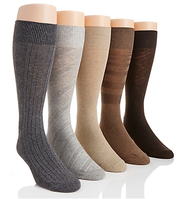 Perry Ellis Premium Cotton Blend Stripe Dress Socks - 5 Pack