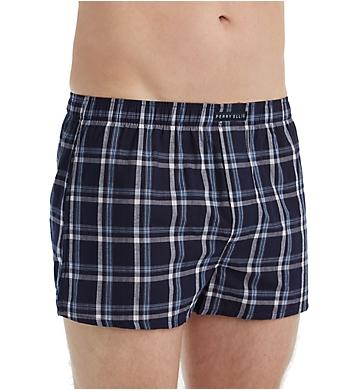Perry Ellis 100% Cotton Plaid & Stripe Woven Boxers - 3 Pack