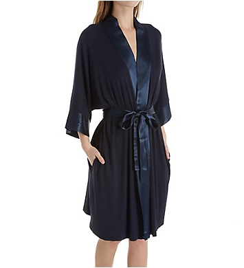PJ Harlow Knit Robe With Pockets And Satin Trim