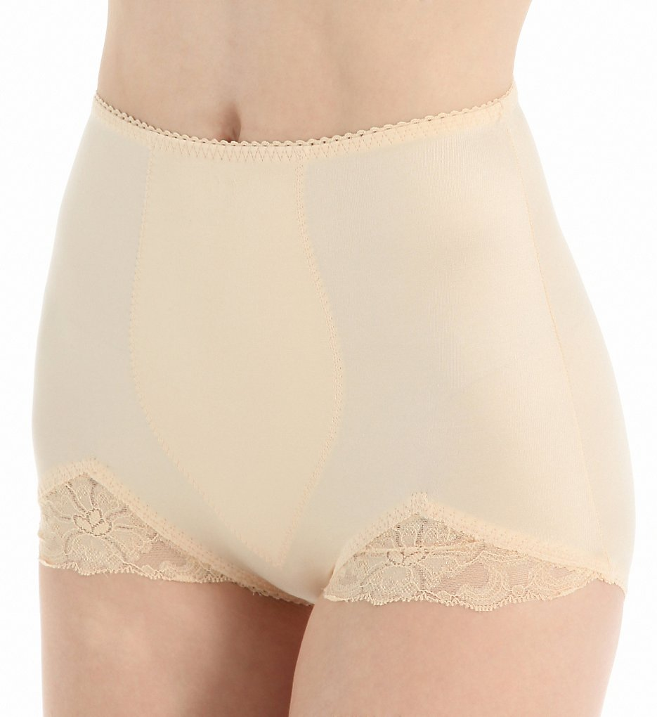 1940s Lingerie- Bra, Girdle, Slips, Underwear History Rago 919 Shaper Panty Brief With Lace Beige 8X $22.00 AT vintagedancer.com