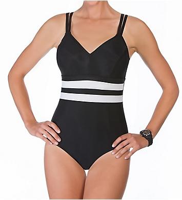 Reebok Fast Lane One-Piece Mesh Inset Swimsuit