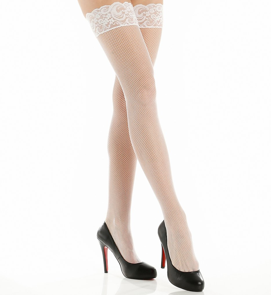 1920s Style Stockings & Socks Fishnet Back Seam Stay Up Thigh Stockings White OS $8.00 AT vintagedancer.com