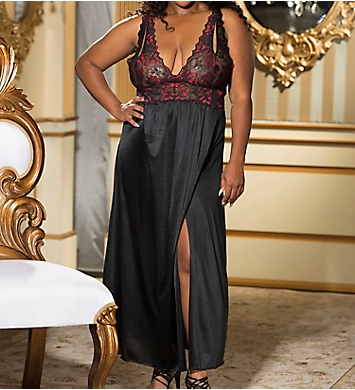 Shirley of Hollywood Plus Size Two Tone Long Lace Gown