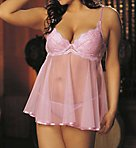 Plus Size Scalloped Embroidery Sheer Net Babydoll