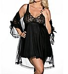 Plus Size 3 Piece Babydoll Peignoir Set