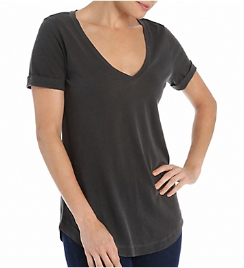 Splendid Vintage 1X1 Short Sleeve V-Neck Shirt Tail Tee