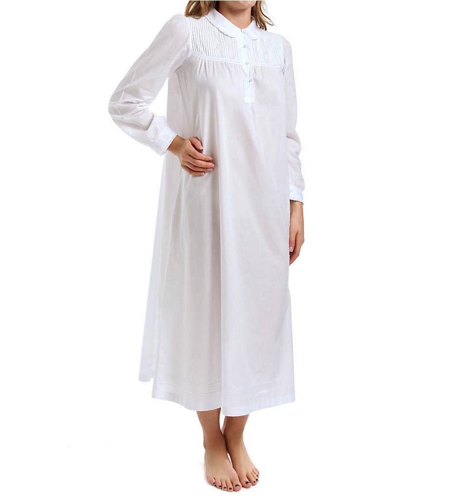 Vintage Inspired Nightgowns, Robes, Pajamas, Baby Dolls Thea 7052 Viridiana Long Sleeve Long Gown White XL $88.00 AT vintagedancer.com