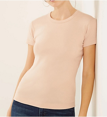 Three Dots 1x1 Short Sleeve Crew-Neck Tee