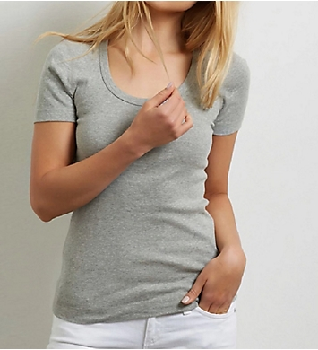 Three Dots 1X1 Short Sleeve Scoop Neck Tee