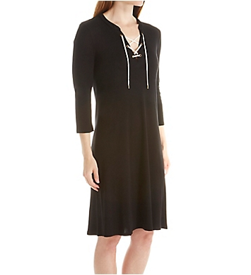 Three Dots 1x1 Cotton Modal Lace Up Dress