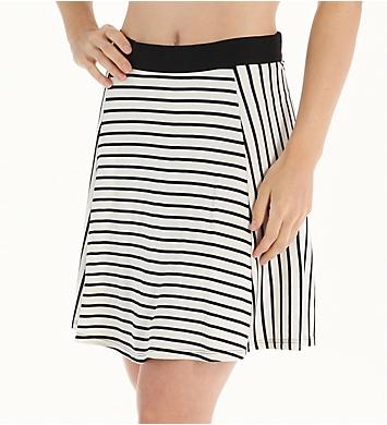Three Dots Nautical Ponte Stripe Flared Skirt